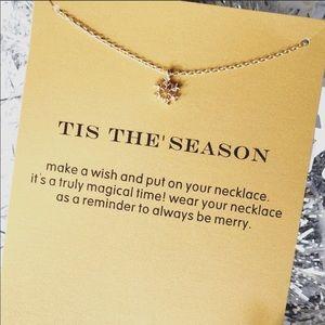 Tis the season snowflake necklace with card
